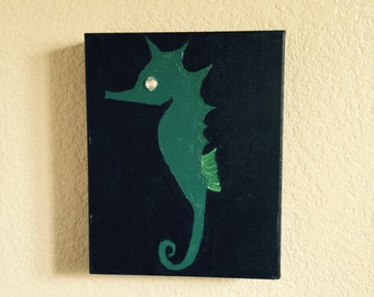 Seahorse Wall Art Acrylic Painting With Clear Rhinestone Eye Ready to hang Gallery Wrapped