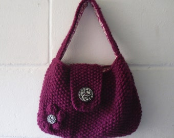 Hand Knitted Bag, Small Dark Pink Evening Bag