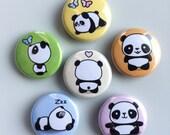 "Kawaii Cute Panda Magnets --- 1"" Refrigerator / Fridge Magnet Set (6 Magnets)"
