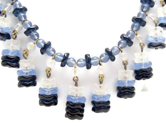 Vintage Glass Necklace, Blue Glass, Dangle Necklace, Vintage Jewelry, Bib Necklace, Estate Jewelry, Glass Bead, Art Deco Necklace