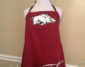 Arkansas Razorbacks Hogs Halter Converted Upcycled Tank Top T-Shirt with Black Bow - XLarge