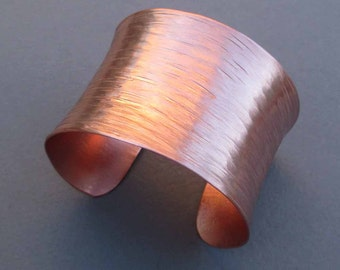 Hammered Copper Cuff Bracelet Textured Metal Artisan Handmade by Seventh Willow Modern Jewelry 7th Anniversary Gift
