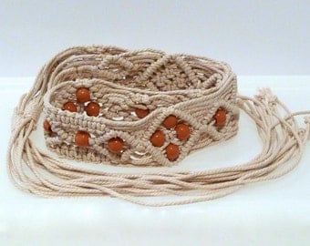 Macrame Belt With Beads Vintage Natural Cord Knotted Belt Medium 1970s Hippie Gypsy Boho Knots Tan Brown Beads Diamond Pattern