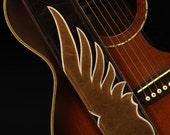 Guitar Strap, Custom Leather Guitar Strap:  Shadow Wing Guitar Strap