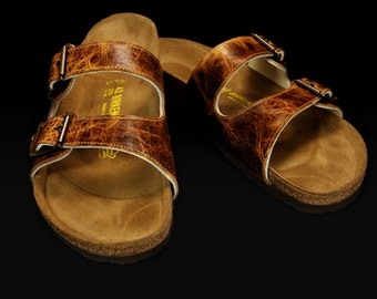 Leather Sandals, Custom Birkenstocks:  Distressed Brown Birks