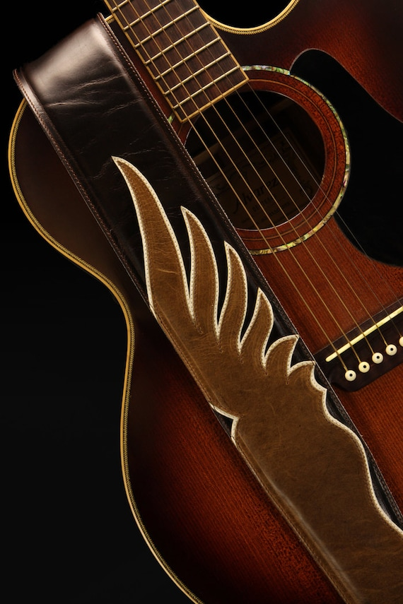 Guitar Strap, Custom Leather Guitar Strap:  Shadow Wing Guitar Strap