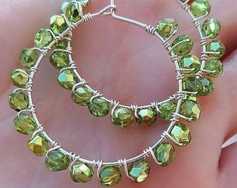 Wire Wrapped Stone  Hoops Earrings. Green Stone Earrings. Sterling Silver. Bohemian earrings. Dangle Hippie earrings.