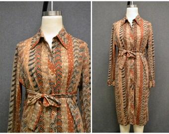 1960s Parade Tribal Print Shirt Dress