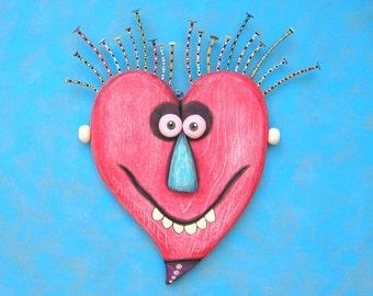 Crazy Heart, Original Found Object Wall Sculpture, Wood Sculpture, Wall Decor, Wood Carving, Figure Sculpture, Valentine, by Fig Jam Studio