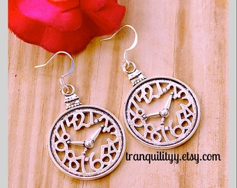 Steampunk Clcok Earrings, Clock Chronicling Steampunk Vintage Style Watch Clock Earrings By: Tranquilityy