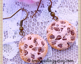 Cookie Earrings Chocolate Chip Polymer Clay loaded  Baked Chocolate Chip Cookie Earrings, Kawaii, Scene, Birthday,  By: Tranquilityy