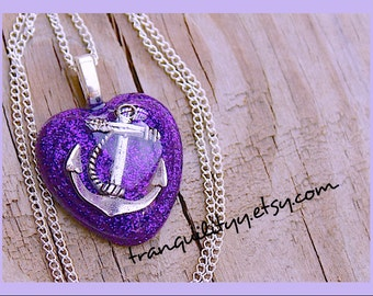 Anchor Heart Necklace, Muse Purple Diamond Glitter Girl  Puffy Heart Glitter Nautical Anchor Resin Necklace Handmade By: Tranquilityy