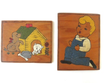 Wooden Folk Art Plaques, Little Boy in Blue, Dog House, Cat and Dog, 1950s Carved Wood Burning Painted Baby Childs Room Jackpot Jen vintage