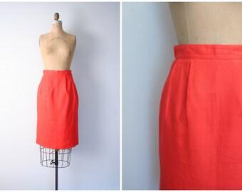 Saks Fifth Avenue pencil skirt - bright red linen / Blood Orange - pin up skirt / high waisted skirt - vintage 70s - 80s designer skirt