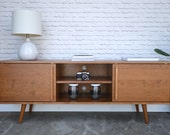 Kasse Credenza / TV Stand - Solid Cherry - Teak Finish - Angled Legs - custom for Robert