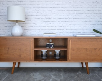 Kasse Credenza / TV Stand - Solid Cherry - Teak Finish - Angled Legs