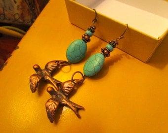 Marvelous OOAK Genuine TURQUOISE & Howlite, BRONZE Flying Birds, Copper Accents Dangle/Drop Pierced Vintage Earrings
