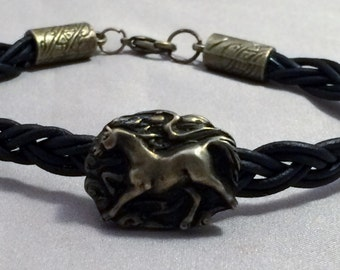 Braided Leather equestrian Bracelet, Galloping Horse Braided Bracelet, Equestrian Bracelet