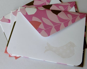 Set of 3 Stationery - Flowers and Leaves with Fuschia, White, PInk - Light Pastel Pink Spring Bird