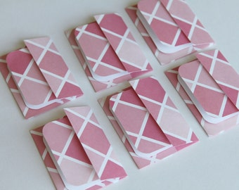 Mini Cards n Envelopes - Set of 6 - Pink Diamond Pattern Plaid
