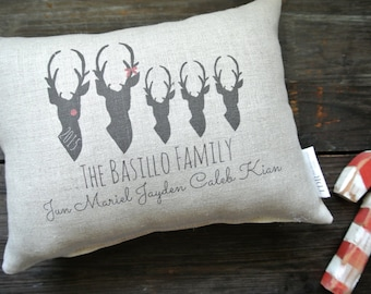 Deer Pillow, Reindeer Personalized Holiday Pillow, Personalized Christmas Pillow, Personalized Family Name Pillow, Rustic Christmas