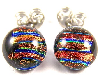 """Tiny Dichroic Glass Stud Earrings Surgical Post - 1/4"""" 7mm - Rusty Red Orange Studs - Copper Gold Blue Striped Dicro"""