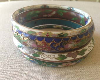Stack of Four Vintage Enamel Bangles