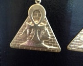 Egyptian Pyramid and Ankh Earrings