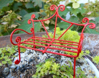 Fairy Garden Bench Miniature Furniture Fairy Accessories Miniature Red Bench Miniature Bench Dollhouse Miniatures Pixie bench