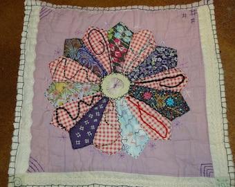 DRESDEN PLATE II - Embellished Vintage Quilt Piece