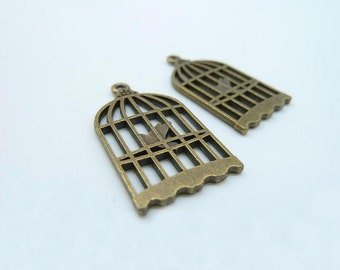 15pcs 15x26mm Antique Bronze Filigree Bird Cage Charms Pendant c3024