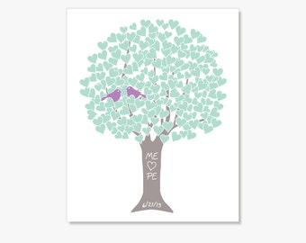 Love Birds Tree - Violet, Aqua - 8x10 Personalized Art Print by ColorBee Monogram Date - Engagement Wedding Shower Anniversary