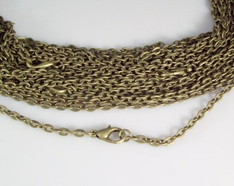 "100 30"" Antique Bronze ROLO Chain Necklaces with Lobster Clasp 3mm"