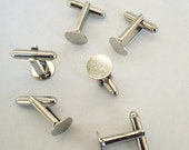 6 Cuff Links with Glue Pad  10 mm  Silver Tone