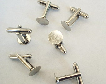 12 Cuff Links with Glue Pad  10 mm  Silver Tone