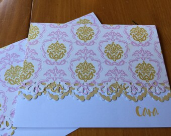 Pink and Gold vintage handcrafted print Note Cards - Set of 10