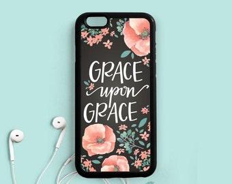 Grace upon Grace John 1:16 Bible verse Quote iPhone 7 6 plus 5s 5c 4s Case, iPhone 6 Plus Case, Samsung Galaxy s4 s5 s6 Case, Note 3 4 Qt66
