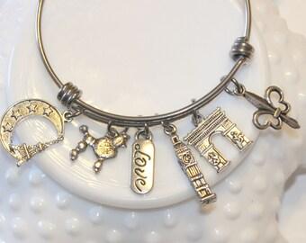 Paris France Themed Charm Bracelet  - Paris jewelry