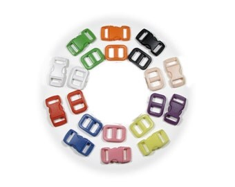 "25 SAFETY Buckles with Matching Triglides  3/8"" (10mm)  - Ten Colors to Choose From"