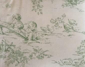 P Kaufman Central Park green toile fabric