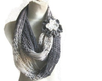 Gray Cotton Knit Scarf / Infinity Scarf / Fall Shawl / Ombre Scarf Loop Scarf / Stocking Stuffer / Perfect Gift /