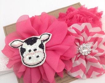 Cow Headband Pink Headband Farm Headband Chevron Headband Shabby Flower Headband Photo Prop Newborn Headband Girls Headband Farm Birthday