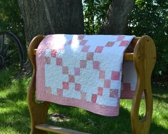 "Baby Girl Quilt, Scrappy Pink Patchwork Quilt, Pink Crib Bedding, 37""x52"" Pink Nursery, Baby Girl Shower Gift, Cotton Bedding"