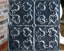 """Genuine Antique Ceiling Tile -- 12"""" x 12"""" -- Distressed Black Paint -- Repeating Small Leaf Design"""