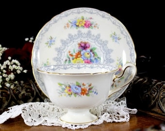 Shelley Teacup, Vintage Tea Cups, Cup and Saucer, English Bone China, Shelley Crochet, Antique Tea  12722