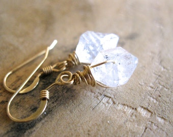 SALE!  Herkimer Diamond Gold Earrings - 20OFF