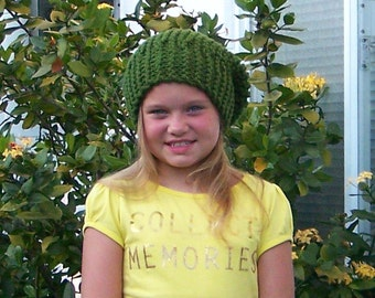 Knit slouchy childrens beanie - childrens hat - green or your color choice - kids slouchy hat handmade Sandy Coastal Designs - ready to ship
