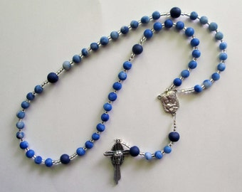 Boys Clay Wire Rosary, navy blue and translucent, Holy Face of Jesus cross, clay, handmade