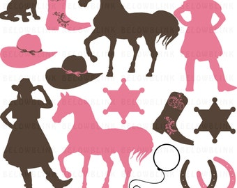 Cowgirl Clipart Clip Art Digital Scrapbooking Commercial Use - printable clipart - Instant Download  - DP366