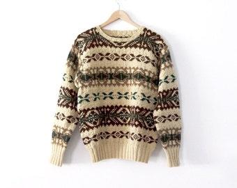 vintage fair isle wool sweater, large